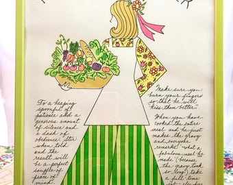 Boho Decor. Retro Kitchen Art. Recipe Art. Chef's Helper Girl Hand-Drawn Graphics in Lime-Green Frame. Adorable!