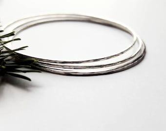 Skinny Sterling Silver Stacking Bangles Set of 3 Hammered Recycled Metal Bracelets Boho Gifts For Her Minimalist Thin Profile Stack - Prisms