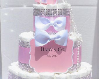 Captivating Pink Bling Diaper Cake Baby U0026 Co. Personalized White Bows Pearls Diamond ...