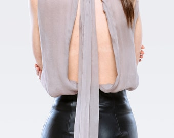 Open back silk top with bowknot behind