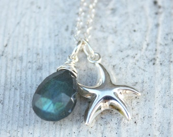 Silver Starfish Necklace - Blue Labradorite - Sterling Silver