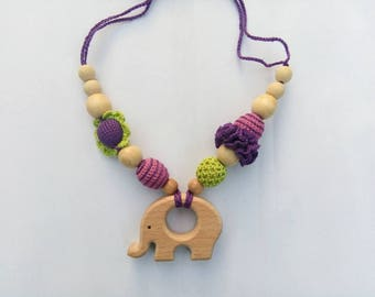 Nursing  necklace Purple necklace Crocheted teething necklace Babywearing necklace Breastfeeding Wooden bead necklace Gift Mother's day sale
