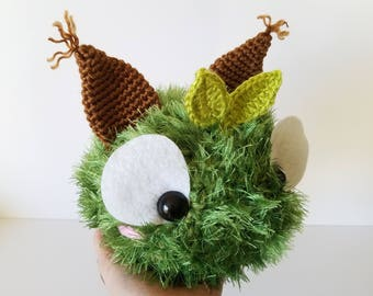 READY TO SHIP Draco the Forest Floof. Monster Stuffed Animal. Amigurumi Forest Sprite. Crochet Sprite. Racoon Stuffed Toy.