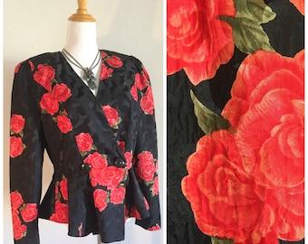 BEAUTIFUL Silk Peplum Jacket Vintage Floral Blouse