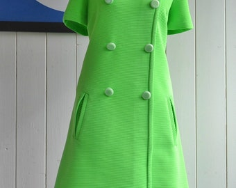 Gorgeous Bright Green A-Line Mod/Scooter Dress 60's