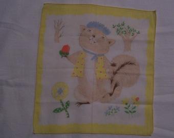 SALE Vintage Child's Hankie Handkerchief Squirrel Flowers Trees Nut Clothing SALE