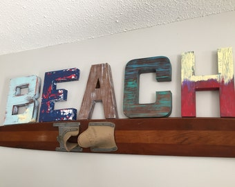 Distressed BEACH letters