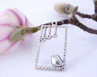 2 pendants connectors Bird on window 33 x 19 mm - silver