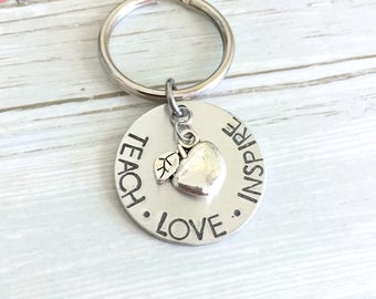 Teach Love Inspire Keychain, Teacher Keychain, Teacher Gift, Apple Charm, End Of School Gift, Thank You Gift, Appreciation Gift, Graduation