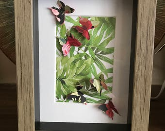 Captured Butterflies in the Jungle Framed, Wall Decor, perfect gift for her, Birthday gift
