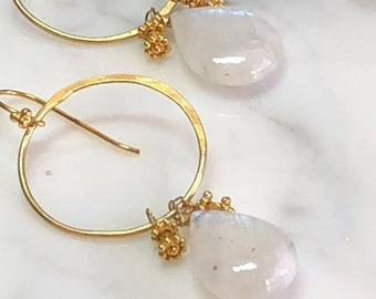 Rainbow Moonstone Gold Chandelier Hoops Earrings