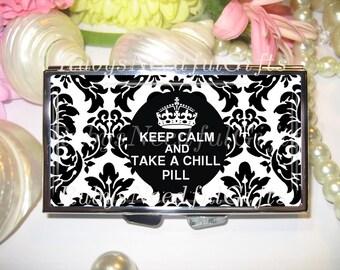 Pill Case, Damask Pill Box, 7 day Pill Box, Pill Case, Pill Box, 7 Sections, Pill Container, Best Friend Gift, Medicine Organiser, Keep Calm
