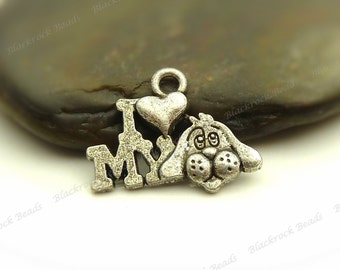 Bulk 30 I Love My Dog Charms Antique Silver Tone Metal - 13x18mm - Pendant, Jewelry Supplies - BF13