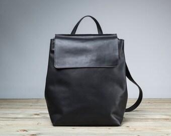 Black Leather Backpack, Women Leather Black Backpack, Leather Bag, Laptop Leather Backpack
