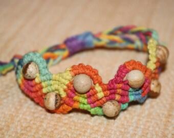 Rainbow Wave Macrame Bracelet