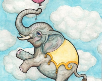 Elephant with Pink Balloon Floating in the Sky - Watercolor Painting - Art Print