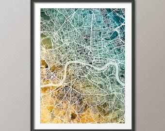 London Map, City Street Map of London England, art print (3034)