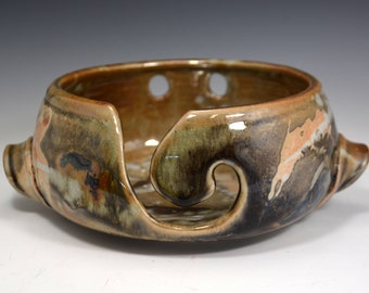 Bronze Knitting Bowl, Yarn Bowl, pottery yarn bowl, pottery knitting bowl, handmade ceramic yarn bowl, READY to Ship