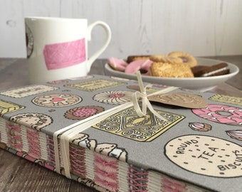 Biscuits Journal, A5 size Notebook, Diary, Sketchbook, Guest book, Handmade, Hand bound, Open spine