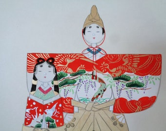 VJ176:Hina dolls Painting on a shikishi board,Japanese  watercolor/ink painting on a shikishi board Hina-Matsuri dolls,packaged,Artist sign.