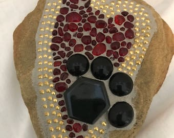Mosaic Pet rock, dog or cat rock , paw print, hand made,red glass heart, paw print, memorial or honor of your pet. One of a kind.