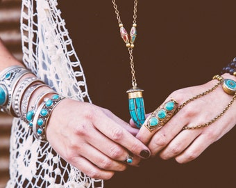 Tibetan Brass and Turquoise horn Tusk pendant beaded long necklace Ethnic Tribal Boho chic unisex Bohemian Layering necklace by Inali