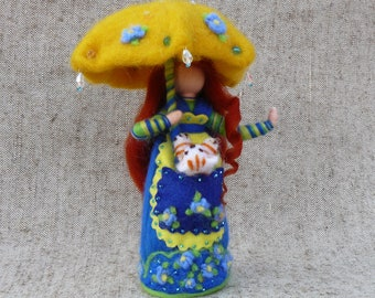 Fairy doll  with an umbrella and a kitten ,  Waldorf doll,  Needle felted doll, Felted wool fairy, Standing doll, Gift for mom