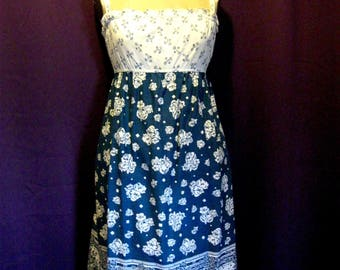 Vintage 70's Blue/Cream Hippie Sundress - Size 6/8