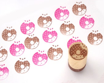 Doughnut rubber stamp, Kawaii stationery, Sweets gift wrap, Custom stamp, Japanese stamp, Hobonichi stamp, Cafe stamp, Gift wrapping idea