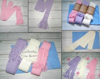 Pastel Woven Belt, Handwoven Cotton Belt, Vegan Belt, Woven no buckle plain belt, Pink, Purple, Milky, other colors Ladies sash for order