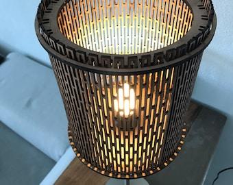 Wooden laser cut lampshade ' living hinge ' design