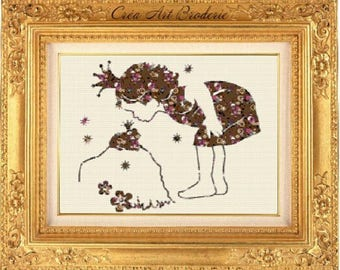 Kids counted cross stitch pattern baby girl