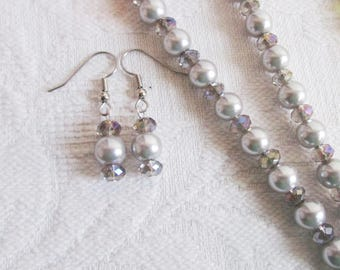 Gray Pearl and Crystal Necklace and Earrings