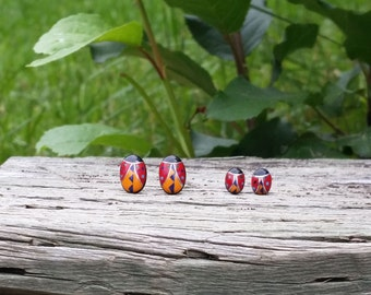 Zuni Fetish style Ladybug Stud Earrings (Multi Inlay), with Sterling Silver posts (Available in 2 sizes)