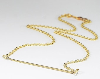 Guitar String Jewelry- Upcycled Brass Bar Necklace, Guitar String Necklace, Modern Minimal Necklace, Music Jewelry, Guitar Player Gift