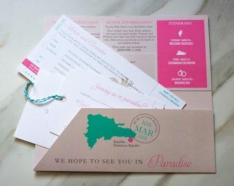 Boarding Pass Invitation and Luggage Tag RSVP Destination Wedding Invitation - SAMPLE #00100-KUS