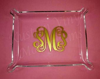 monogrammed acrylic jewelry trays
