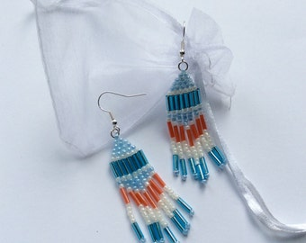 Silver Plated and Beaded Chandelier Earrings, Native American Style, Brick Stitch, Handmade, Blue and Orange