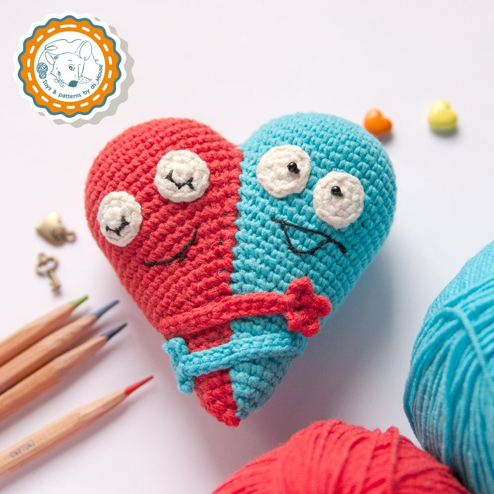PATTERN Double Heart crochet pattern amigurumi pattern