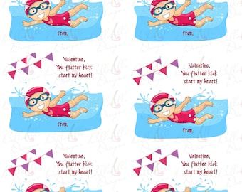 Girls Swimming Valentines Day Cards!  2 JPEGS and 2 PDFS included!  Instant Download!