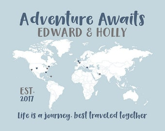 Personalized World Map for Wedding, Adventure Awaits Quote, Dusty Blue, Custom Color Choices, Adventures Map, Love Map, Travel Gifts   WF557