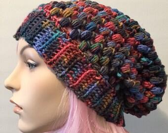 Slouchy beanie handmade crochet hat puff stitch beanie hippie hat mens womens