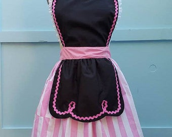 retro apron  black and pink 50s DINER WAITRESS ...ice cream parlor fifties hostess bridal shower gift vintage inspired flirty full