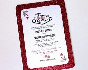 Stella Las Vegas Glitter Wedding Invitation - Casino Invitation - Playing card Invitation - Black White Red Glitter - Sample