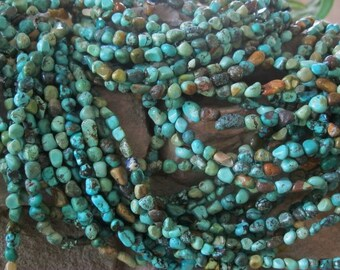 Natural Turquoise Pebble Nugget Beads Blues Greens 5-6 mm small 15.5""