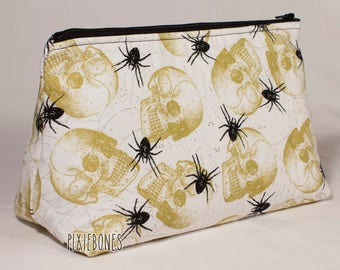 Spiders & Skulls Cosmetic Bag - Made to Order!