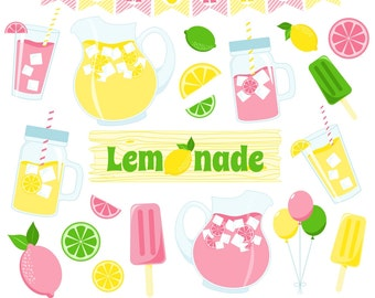 Lemonade Clipart, Lemon Clipart, Pink Lemonade, Lemonade Stand, Printable, Commercial Use