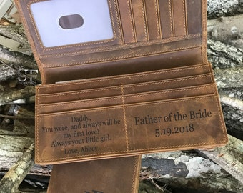 Father's day gifts for Men Gift for Dad, Mens Wallet, Personalized leather Wallet, Father of the Bride, Husband gift, slim Leather wallet