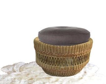 "Vintage Wicker Ottoman Wicker Natural Rattan Ottoman Stool Round 22""  Jungalow Bohemian Decor Footstool Stool Rattan Stool with Cushion"
