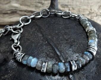 man labradorite bracelet, raw, boho, bohemian, men's bracelet, raw labradorite bracelet, dark sterling silver bracelet